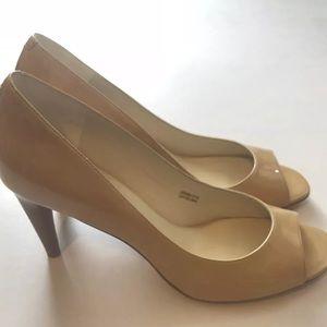 VIA SPIGA Nude Patent Leather Open Toe Heels